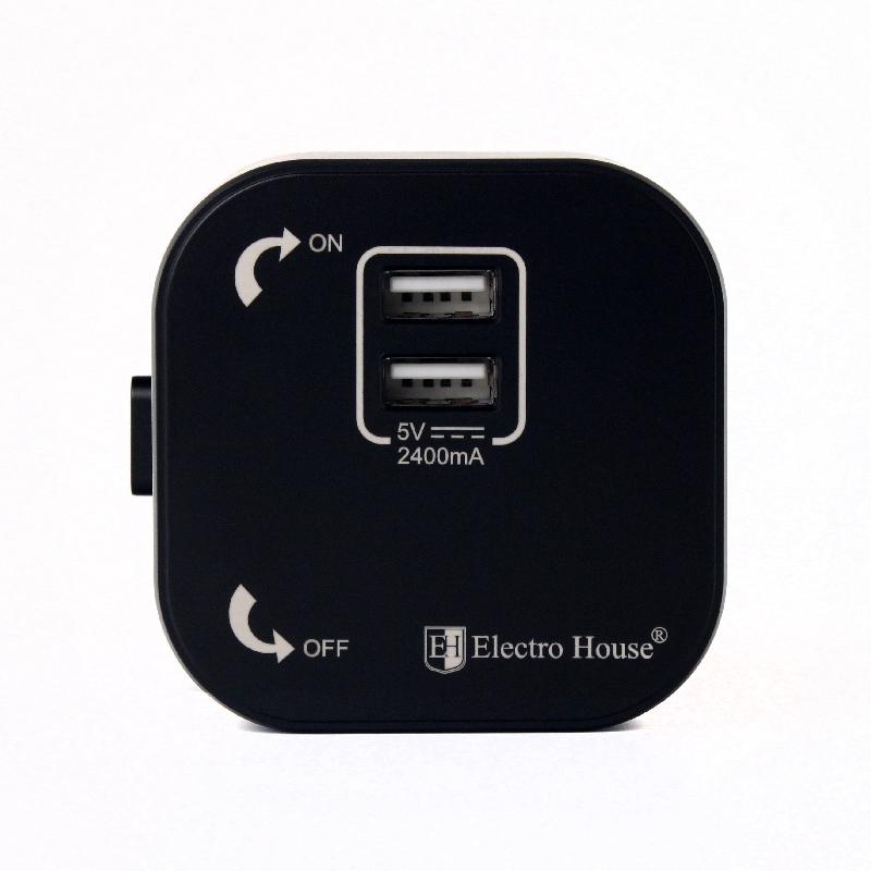 Розетка 2-я USB черная
