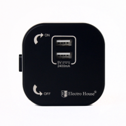 Розетка 2-я USB Pandora Black 2A IP40