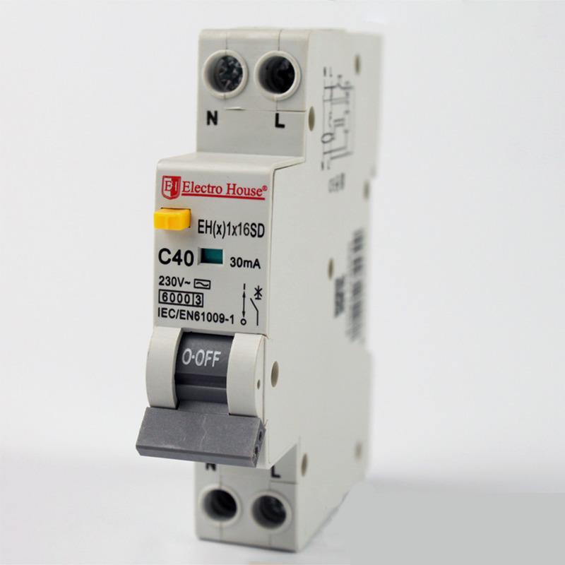 ДИФ Автомат 16А 1P+N(1 модуль) 6kA  EH(x) 1x16SD EH(x) 1x16SD