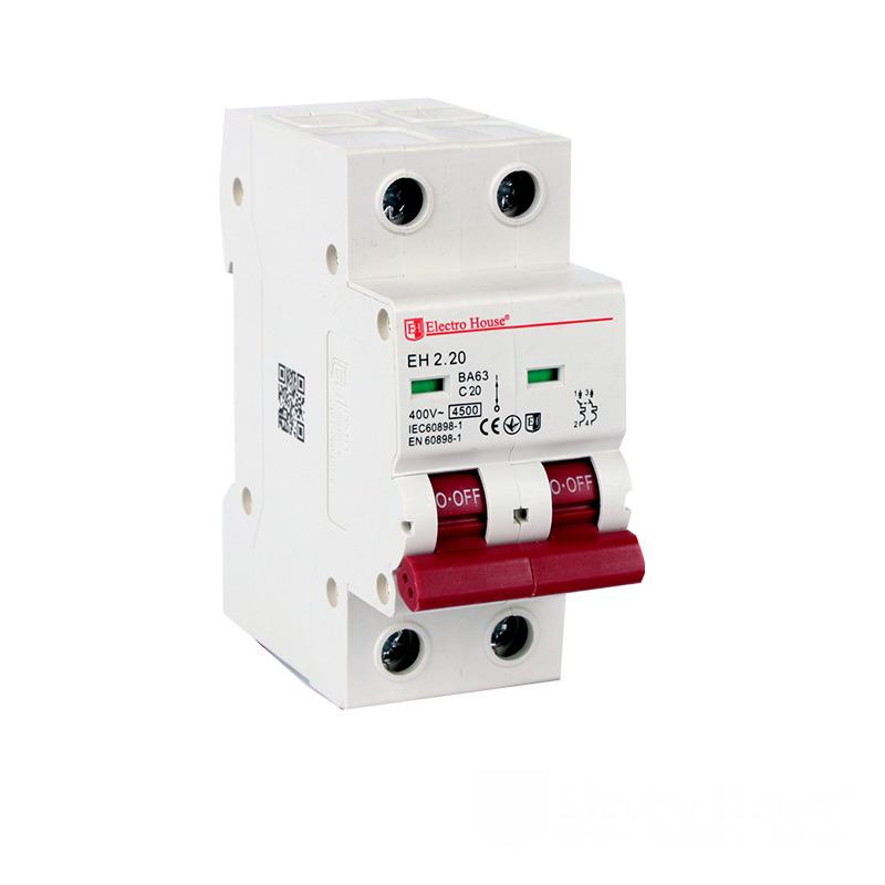 Автоматический выключатель 2 полюса 20А  EH-2.20 EH-2.20