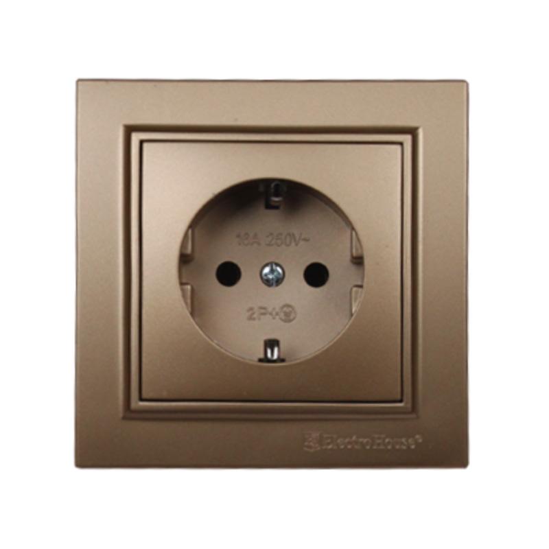 Розетка с заземлением роскошно золотой Enzo EH-2109-LG EH-2109-LG