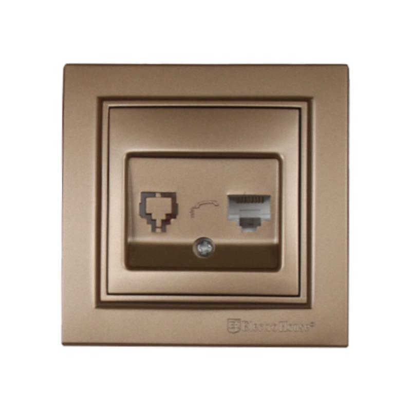 Розетка компьютерная золотой Enzo EH-2114-LG