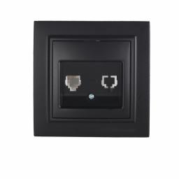 Розетка компьютерная  Безупречный графит Enzo 1x8P8C IP22