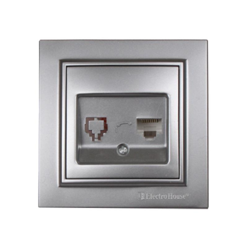 Розетка компьютерная серебро Enzo EH-2114-ST