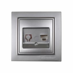 Розетка компьютерная Серебряный камень Enzo IP22