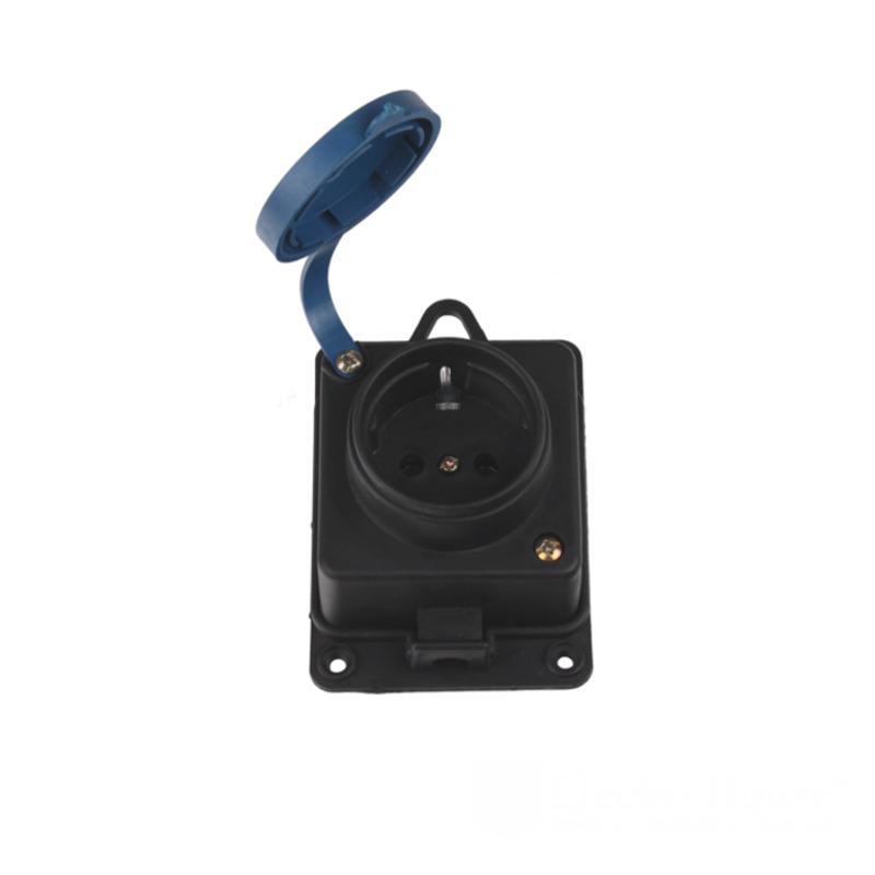 Каучуковая настенная розетка с заземлением и крышкой IP 44 Garant EH-2156