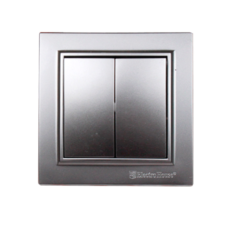 Выключатель двойной серебро Enzo EH-2182-ST
