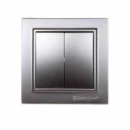 Выключатель двойной Серебряный камень Enzo IP22