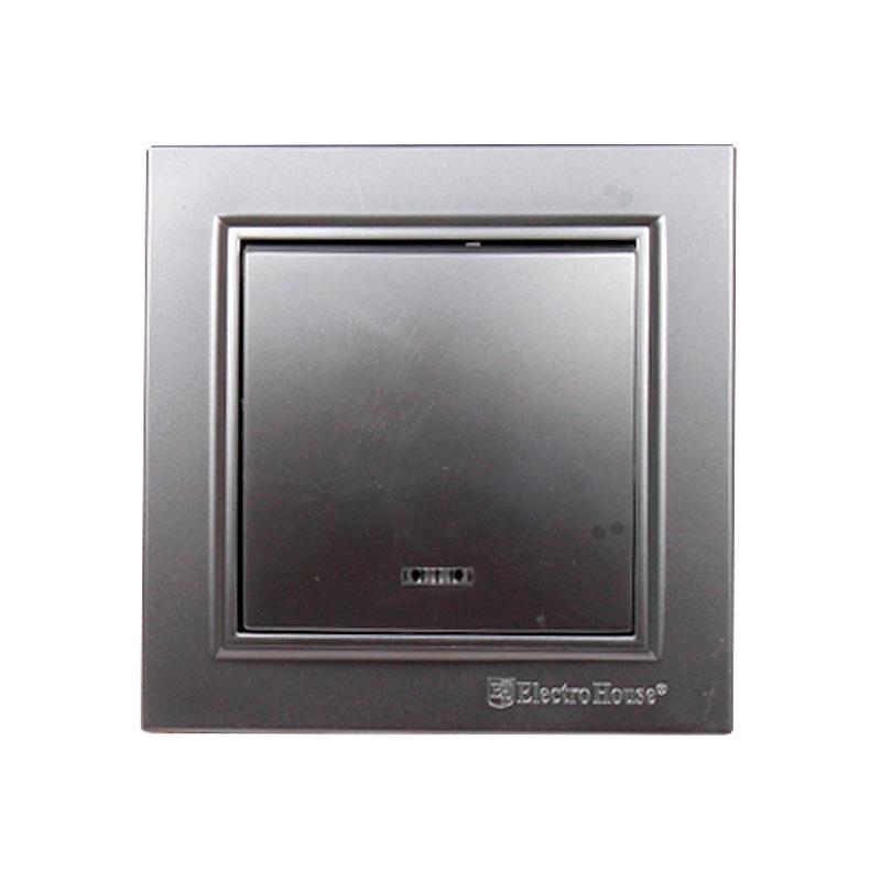 Выключатель с подсветкой серебро Enzo EH-2183-ST