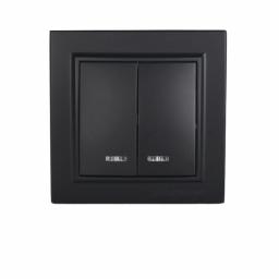 Выключатель двойной с подсветкой Безупречный графит Enzo IP22