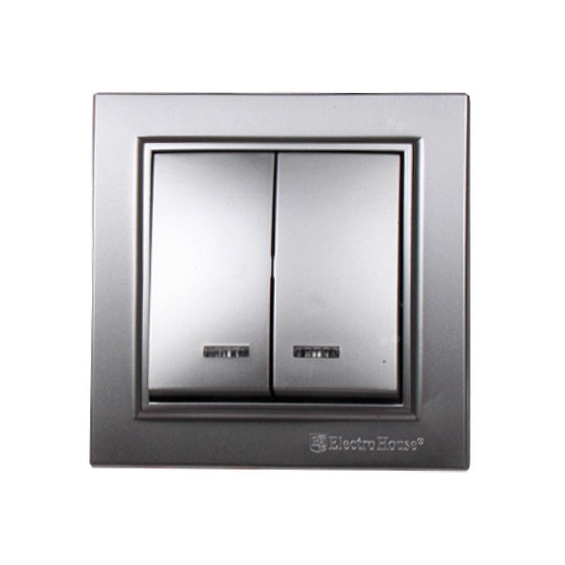 Выключатель с подсветкой двойной серебро Enzo EH-2184-ST