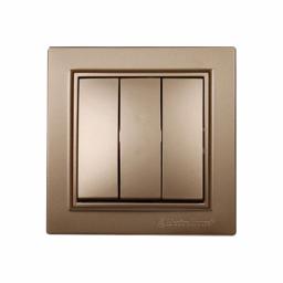 Вимикач потрійний Розкішно золотий Enzo IP22