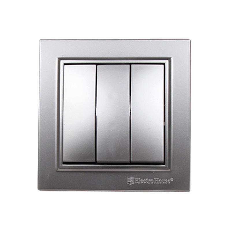 Выключатель тройной серебро Enzo EH-2185-ST