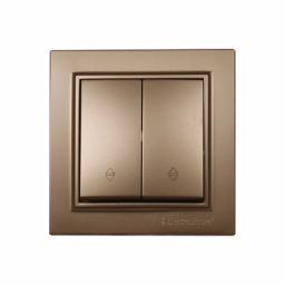 Выключатель проходной двойной золотой Enzo EH-2187-LG