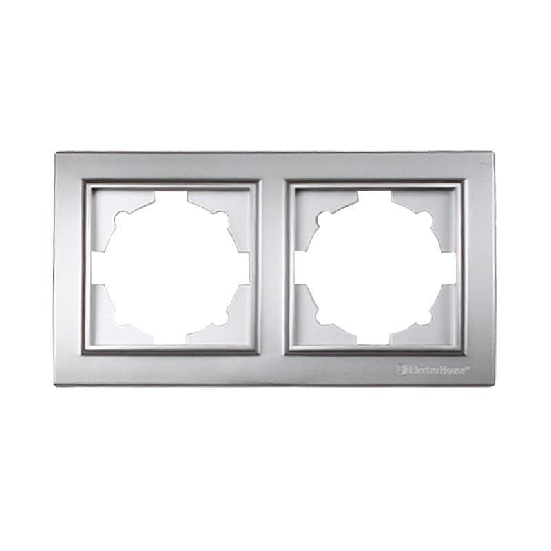 Рамка двойная серебро Enzo EH-2201-ST