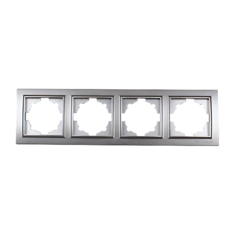 Рамка четырехместная серебро Enzo EH-2203-ST