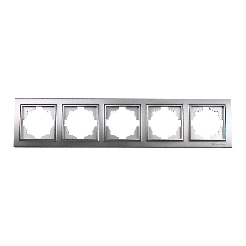 Рамка пятиместная серебро Enzo EH-2204-ST