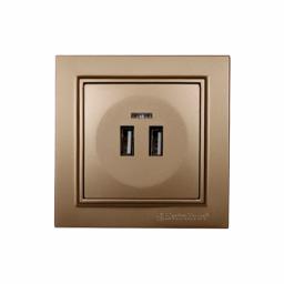 Розетка USB (2 порти) Розкішно золотий Enzo 2A IP22