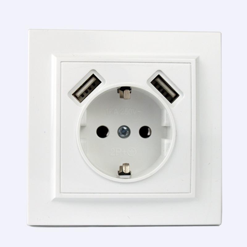 Розетка USB двойная + розетка с\з Enzo EH-5321 EH-5321