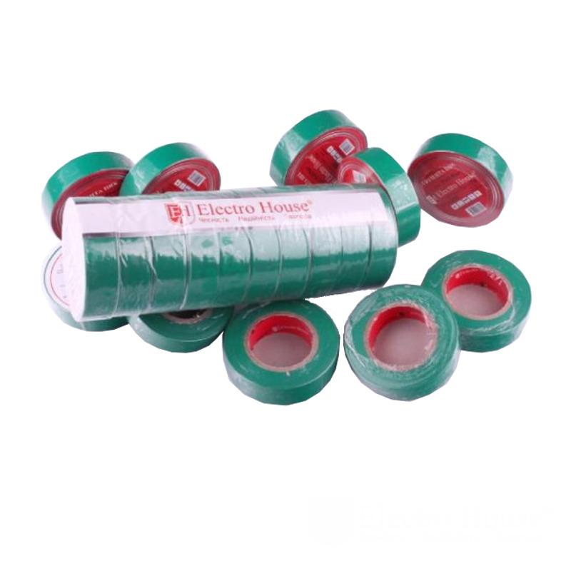 Изолента зеленая 0,15мм х 18мм х 17м EH-AHT-1815