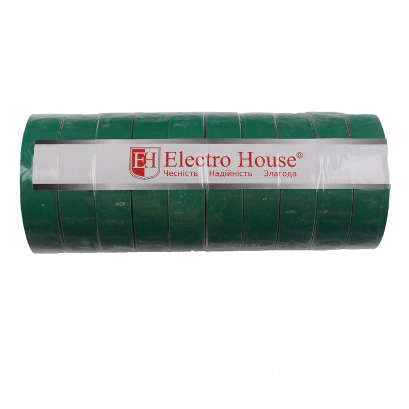 Изолента зеленая 0,15мм х 18мм х 21м EH-AHT-1823