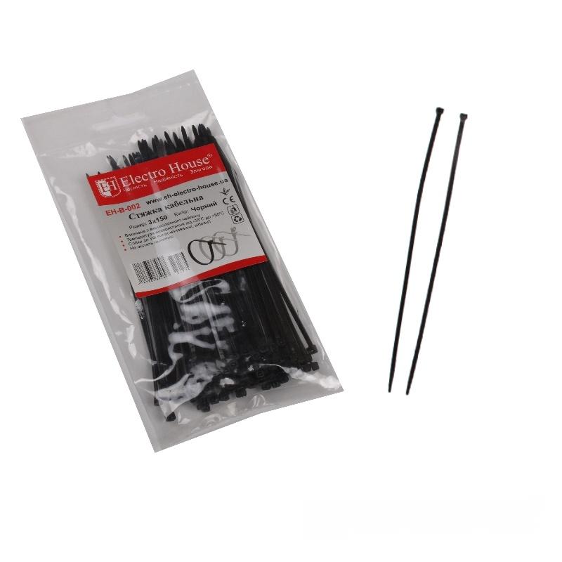 Стяжка кабельная чёрная 3x150 EH-B-002