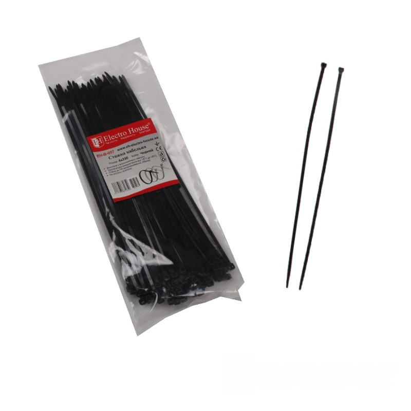 Стяжка кабельная чёрная 4x250 EH-B-007
