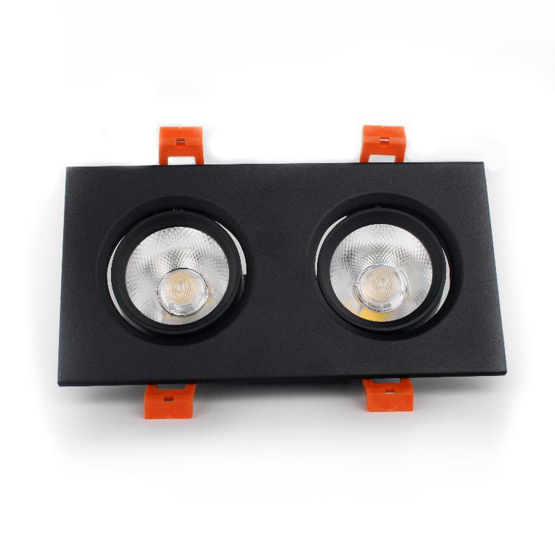 LED светильник потолочный чёрный двойной 5W угол поворота 45°