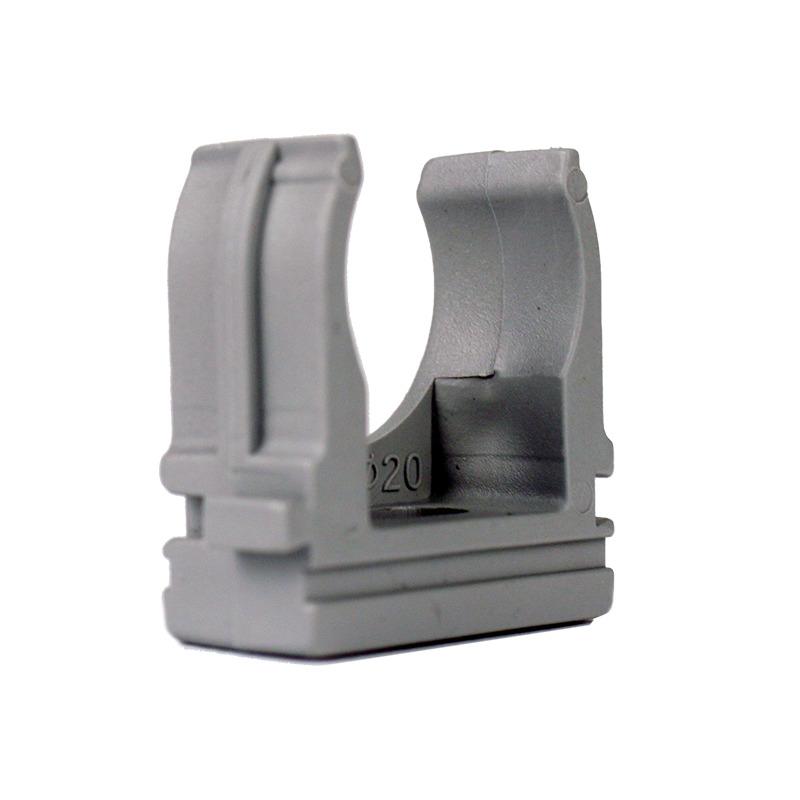 Крепеж для гофротрубы Ø 20 мм, Ø отв. 6 мм, цвет серый 100 шт. EH-KG-20