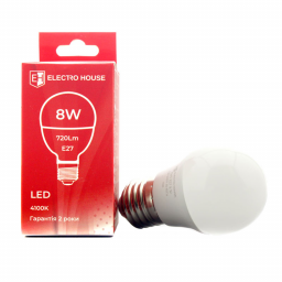 "LED лампа ""шар""  E27/4100K/8W 720Lm /180° G45"