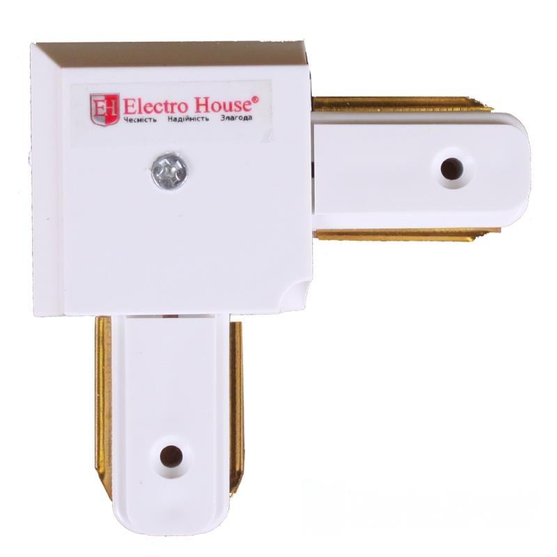 Коннектор для трекового LED светильника угловой белый EH-TC-0002
